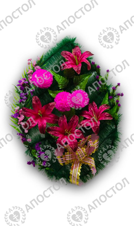 Похоронный венок из ерша с лилиями