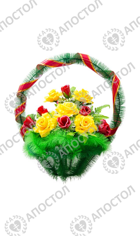 Для похорон корзина с большими бутонами роз